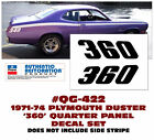 Ge-qg-422 1971-74 Plymouth Duster - 360 Quarter Panel Decal Set