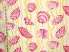 Pink Lime Green Seashell Fabric Sea Shell Home Decorating Material Drapery Bty