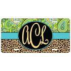 Lime Paisley Leopard License Plate Animal Monogram Personalized Mothers Day