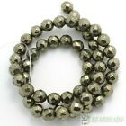 Natural Iron Pyrite Gemstone Faceted Round Beads 3mm 4mm 6mm 8mm 10mm 12mm 16