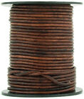 Xsotica Brown Distressed Round Leather Cord 2mm 25 Meters 27 Yards