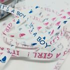 Baby Boy Girl Ribbon Grosgrain Blue Pink Craft Gift Wrapping Cakes 10mm New Born