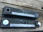 60s 70s Pair Of Mickey Thompson Mt Sb Chevy Black Finned Alum Valve Covers