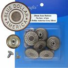 20 Mm No-sew Matte Silver Jean Tack Buttons Collection Ct. 6