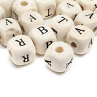 100200300pc10mm Natural Mixed Wooden Alphabet Letter Cube Craft Charms Beads