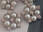 Vintage 23 Mm Pearl And Rhinestone Silver Metal Buttons Bridal Embellishment