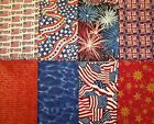 Lot Of 8 Assorted Red White Blue Patriotic Cotton Fabric Fat Quarters 118