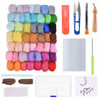 Needles Felting Starter Kit Handcraft Tools 50 Colors Wool Fibers Yarn Roving