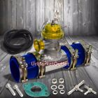 Gold 30 Psi Turbo Blow Off Valve2.5 Flange Pipe4 Clamps2 Blue Silicone Hose