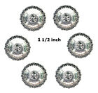 Concho Lot Of 6 Pc Shiny Silver Engraved Windrose Fa 4831 12 To 1- 34