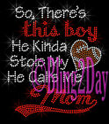 So Theres This Boy - Basketball - Iron On Rhinestone Transfer Bling Sports Mom