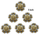 Concho Lot Of 6 Pc Antique Silver Gold Floral Berry Pentagon 1 1-14 1-12