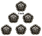 Conchos Lot Of 6 Pc Antique Silver Berry Pentagon Rodeo Craft 1 1 14 1 12