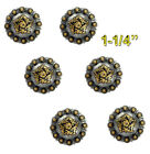 Conchos Lot Of 6 Pcs Bs 9188 Antique Silver Gold Berry Coloma 5 Sizes