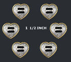 Conchos Lot Of 6 Pc F9524 A Silver Gold Heart Rope Edge Slotted Saddle 2 Sizes