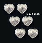 Conchos Lot Of 6 Pcs Western Heart Shape Bright Silver Rope Edge 3 Sizes New