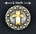 Conchos Lot Of 6 Pcs Rodeo Berry Antique Silver Gold Christian Cross 5 Sizes