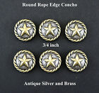 Lot Of 6 Conchos Round Rope Edge Star Bs 9156 Antique Silver Brass 4 Sizes
