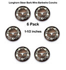 Concho Lot Of 6 Western Longhorn Barbed Wire Rodeo Leather Craft 2 Sizes Bs 9293