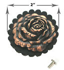 Copper Rose Concho Black Leather Rosette Pageant Cowgirl 2 Sizes 2 And 1-34
