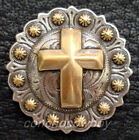 Western Saddle Horse Tack Antique Engraved Gold Cross Berry Concho Screw Back
