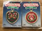Vintage Cross Stitch Kitschristmas Trim Ornaments Noelcandy Canes Or Goose