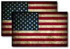 2x Reflective Usa American Flag Distressed Vintage Decal 3m Sticker Various Size