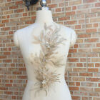 3d Embroidery Flower Lace Bridal Applique Pearl Beaded Tulle Diy Wedding Dress.