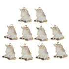 10 Pc Enamel Cartoon Cat Unicorncharm Pendant Diy Necklace Jewelry Making Supply