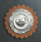 Tan Leather 2 Rosette With Fitted Amounted Select Conchos New