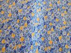 Brand New Calico 100 Cotton Fabric Floral Blue Yellow Bty X 44 Wide Free Ship