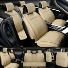 Leather Car Seat Cover Waterproof Breathable 5 Seats Full Set Front Back Cover