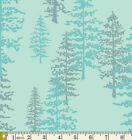 Blue Quilt Fabric With Pine Trees Forest Mystical Woods Nightfall Agf