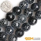 Black Dream Fire Dragon Veins Agate Faceted Round Beads For Jewelry Making 15