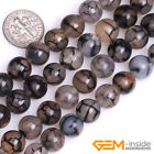 Black Dragon Veins Agate Dyed Gemstone Round Loose Beads For Jewelry Making 15