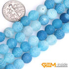 Natural Blue Dream Fire Dragon Veins Agate Round Beads For Jewelry Making 15