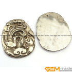 Natural Silver Gray Pyrite Gemstone Carved Pendant Charm Beads 1 Piece Yao-bye