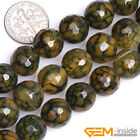 Natural Faceted Dark Yellow Dragon Veins Agate Round Bead For Jewelry Making 15