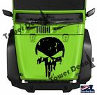 Distressed Skull Punisher Hood Vinyl Decal 16-23 Wide Fits Jeep Dodge Chevy