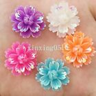 New 12pcs 25mm Ab Resin Candy Color Flower Stone Flatback Wedding Buttons Craft