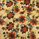 Metallic Gold Etched Peach Floral On Cream Cotton Fabric By Hoffman