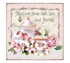 Teapotteacupbless Our Homelovefriendspink Rosesprinted On Fabricblock558