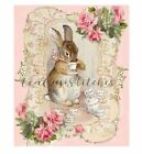 Beatrix Potter Rabbitpink Rosesteapotteacupprinted On Fabricblockbunny561