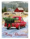 Vintage Home For The Holidays Red Truckfabric Printmerry Christmasblock798