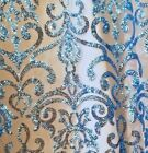 Vintage Damask Sequins Fabric Dress Prom Gown Apparel Bridal Decor 52 Sby.