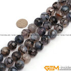 Black Dragon Veins Agate Gemstone Faceted Round Beads For Jewelry Making 15 Yb