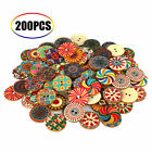 200100pcs Wooden 2 Holes Round Wood Sewing Buttons Diy Craft Scrapbooking 25mm