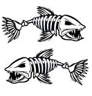 2 Skeleton Fish Boat Stickers Large Vinyl Decals Graphics Fishing 10 X 23