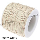 1mm Waxed Polished Cotton Braided Cord Macrame Beading Artisan 20lbs - 80 Yards