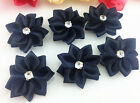 Diy 10-100pcs Satin Ribbon Flower With Crystal Bead Appliquescrafttrim
